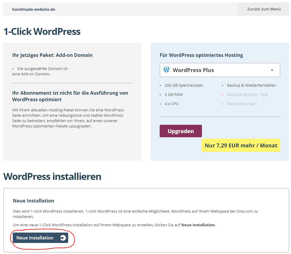 WordPress-Installation bei one.com