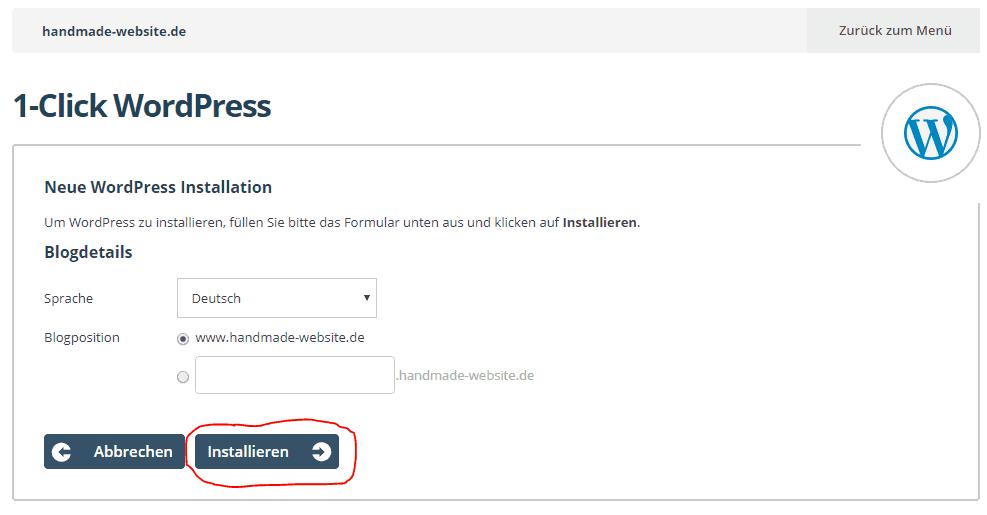 WordPress Installation starten