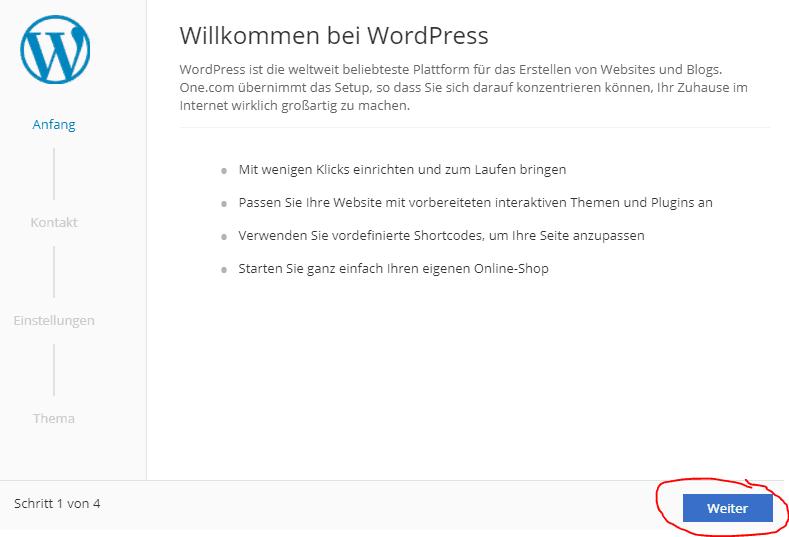 WordPress Installation Konfiguration