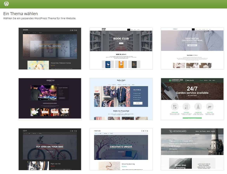WordPress one.com Theme auswählen