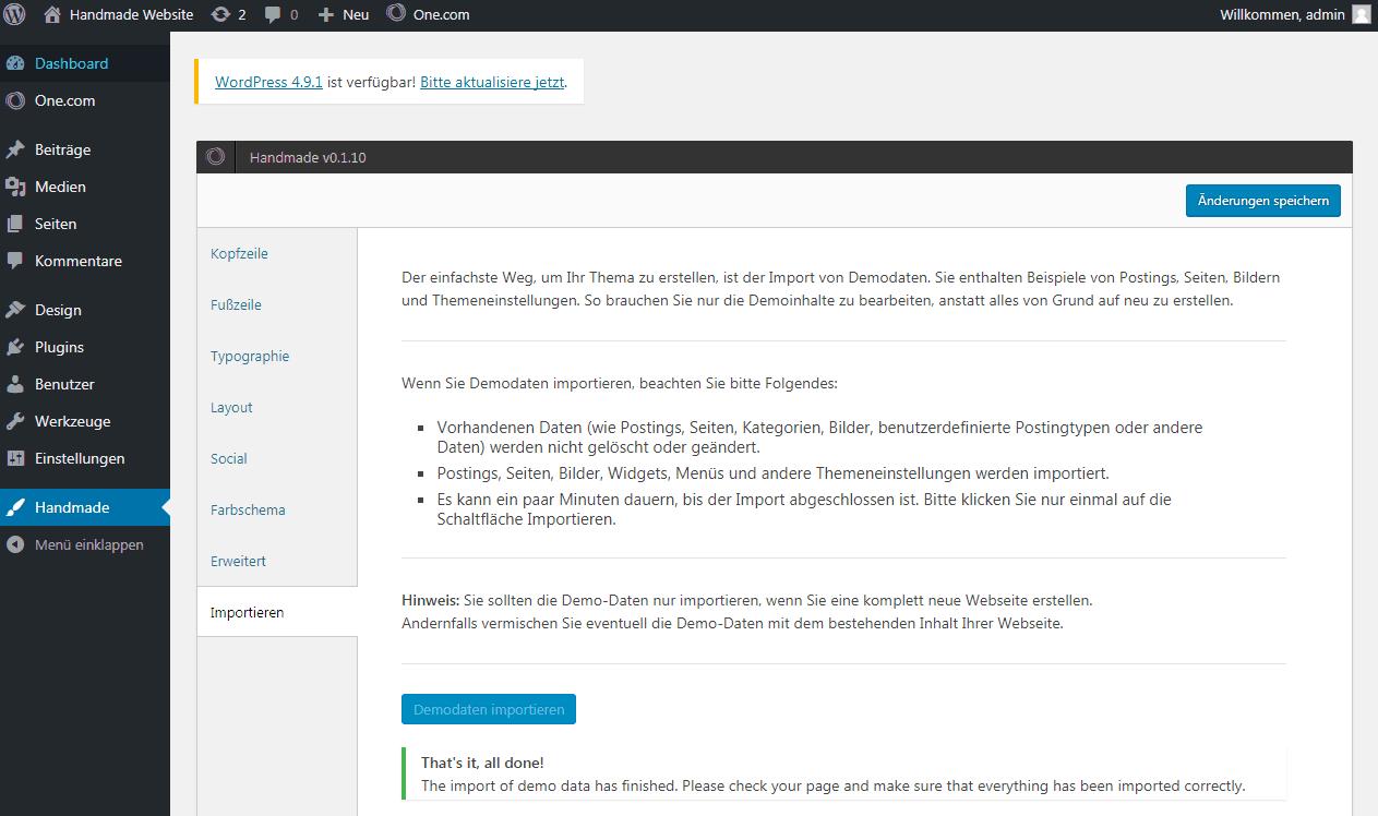 WordPress Benutzer-Interface