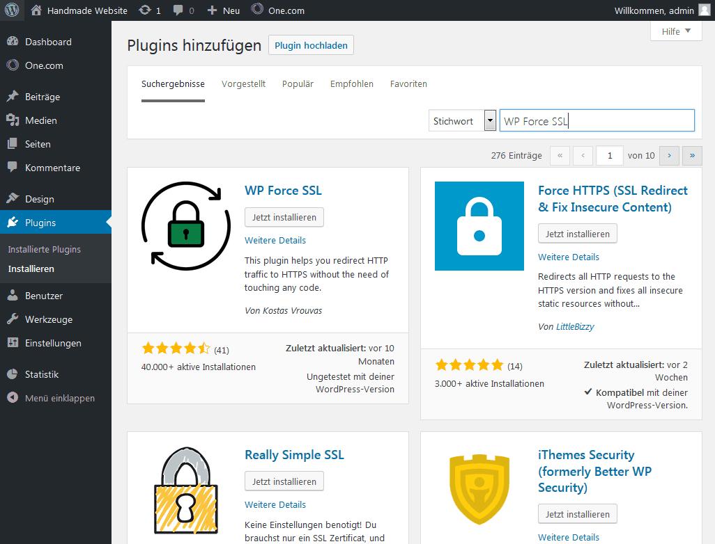 WordPress Plugin WP Force SSL installieren