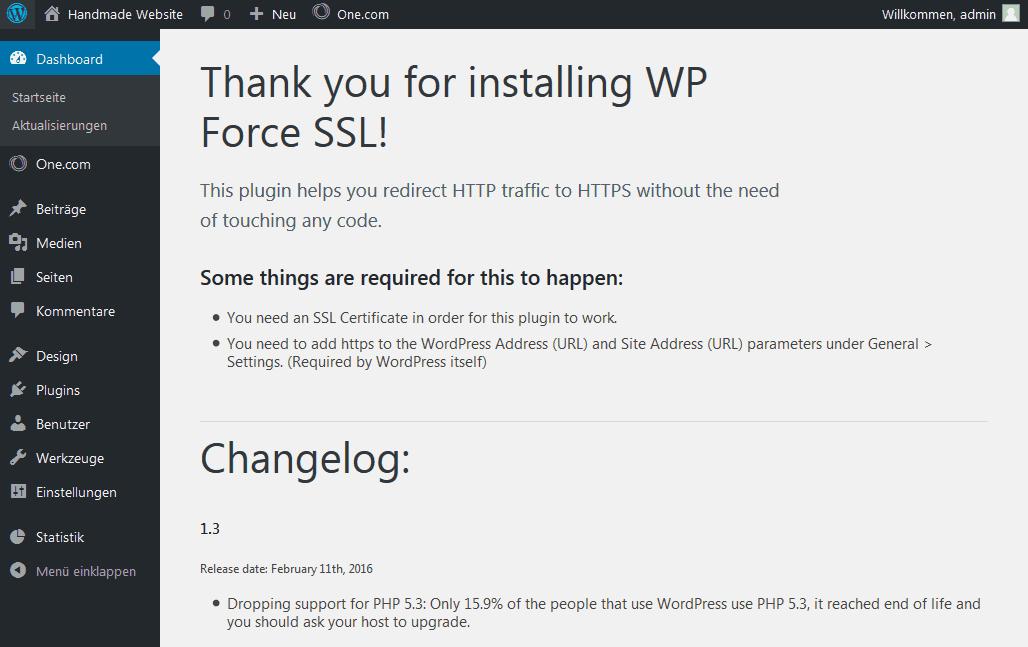 Plugin WP Force SSL wurde aktiviert