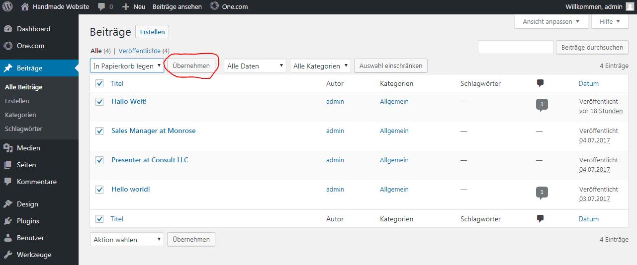 WordPress Beiträge löschen