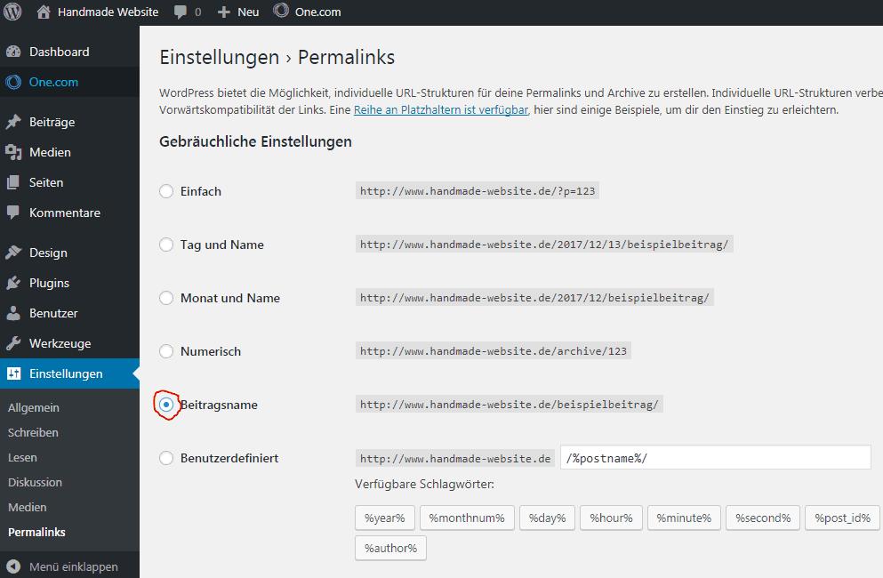 WordPress Einstellungen Permalinks
