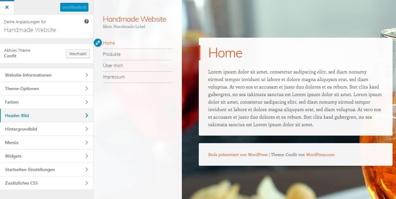 WordPress Theme Confit konfigurieren