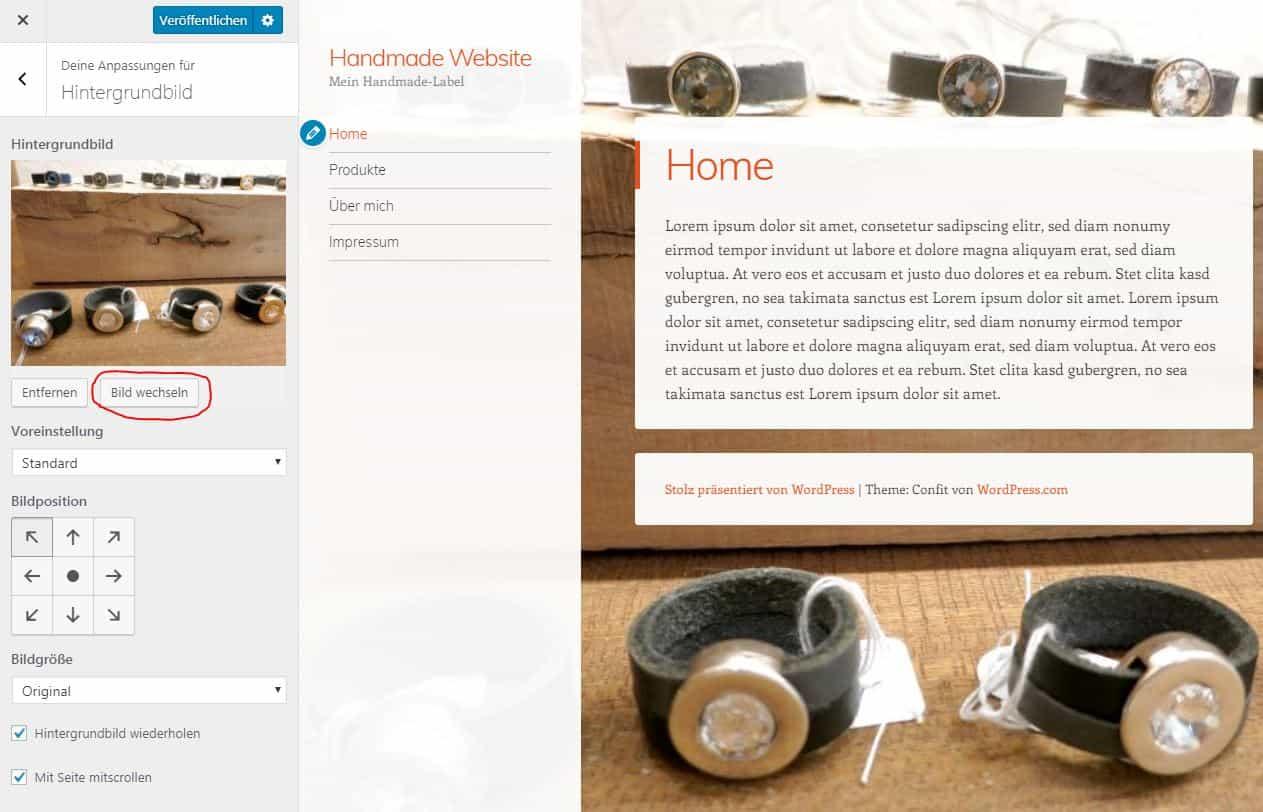 WordPress Theme Hintergrundbild ändern