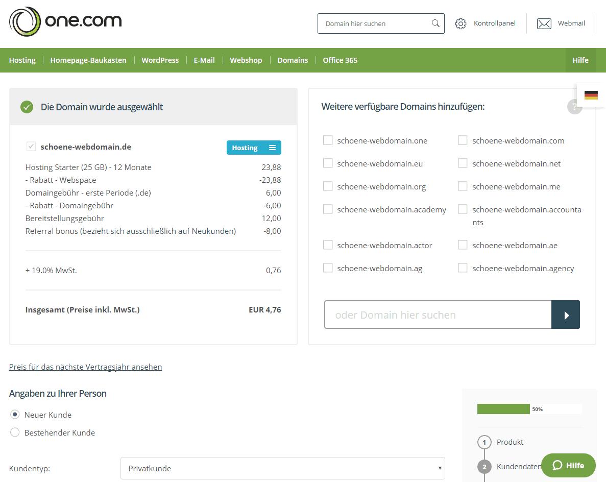 Webhosting bestellen